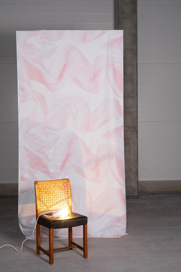 Vaaleanpunainen Puhuri puuvillaverho - tunnelmakuva