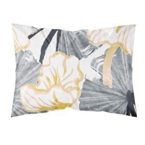 runsaskuvioinen tyynyliina keltainen