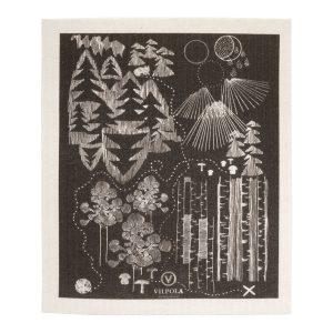 Musta kotimainen tiskirätti, jonka kuvana on aarrekartta