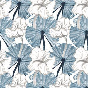 Vilpolan Fish Pond-kangas, väriltään sininen. Vilpolan kevät/kesä 2020-mallisto.